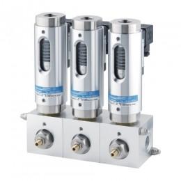 Bloco de válvula com linha de alimentação central para uso com monitores ou indicadores de fluxo - VSB