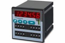 Indicador SSI duplo com 8 dígitos com 4 relés e 2 Switches thumbwheel ID634