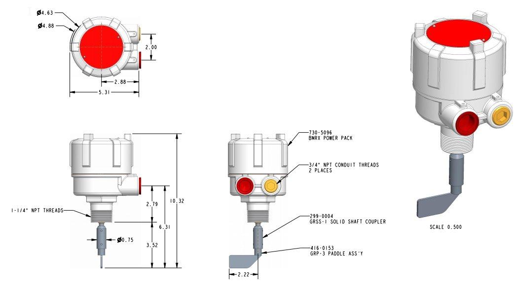 Desenho técnico e dimensões da chave de nível tipo pá rotativa BMRX
