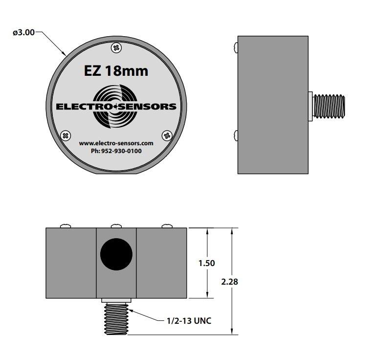 Desenho técnico suporte de montagem EZ-3.4 e EZ-18mm (dimensional)