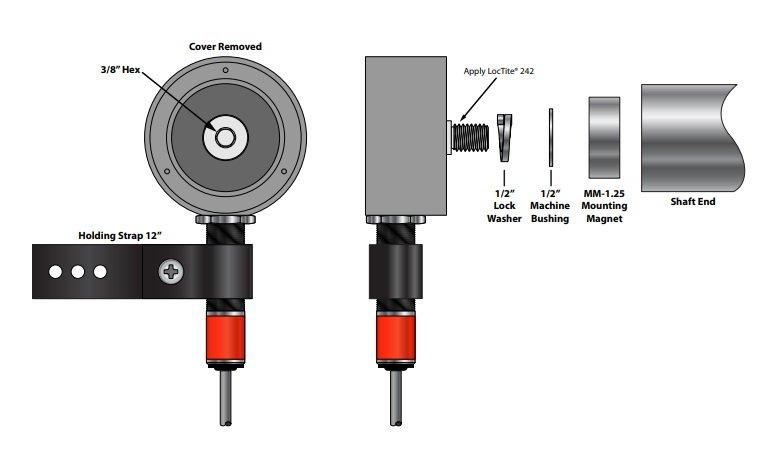 Desenho técnico suporte de montagem EZ-3.4 e EZ-18mm (montagem magnética)