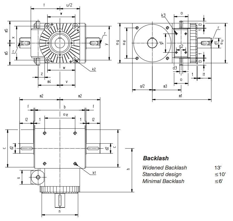 Desenho técnico da caixa de transmissão com faseador SP2 da Tandler