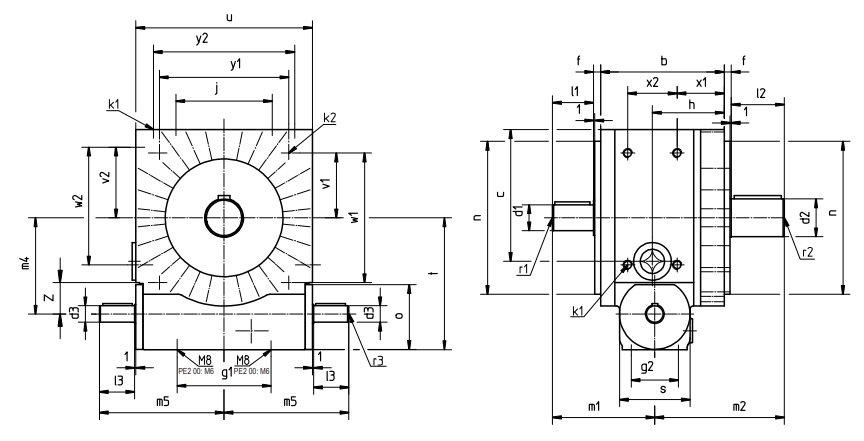 Desenho técnico do faseador mecânico PE2 da Tandler