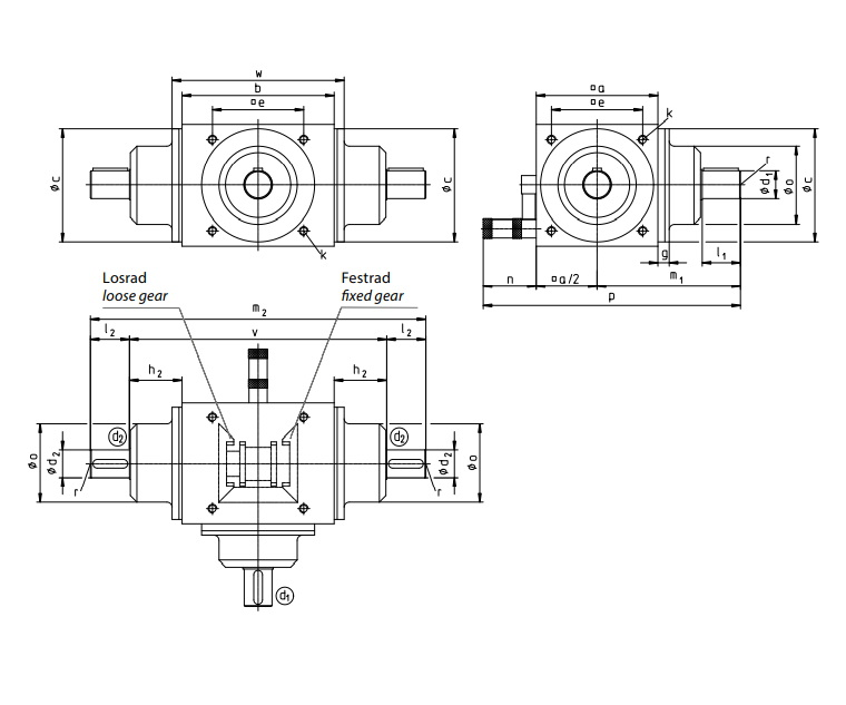Dimensões da caixa de engrenagem com alavanca para inversão, desengate ou alternância de um dos eixos de saída da Tandler